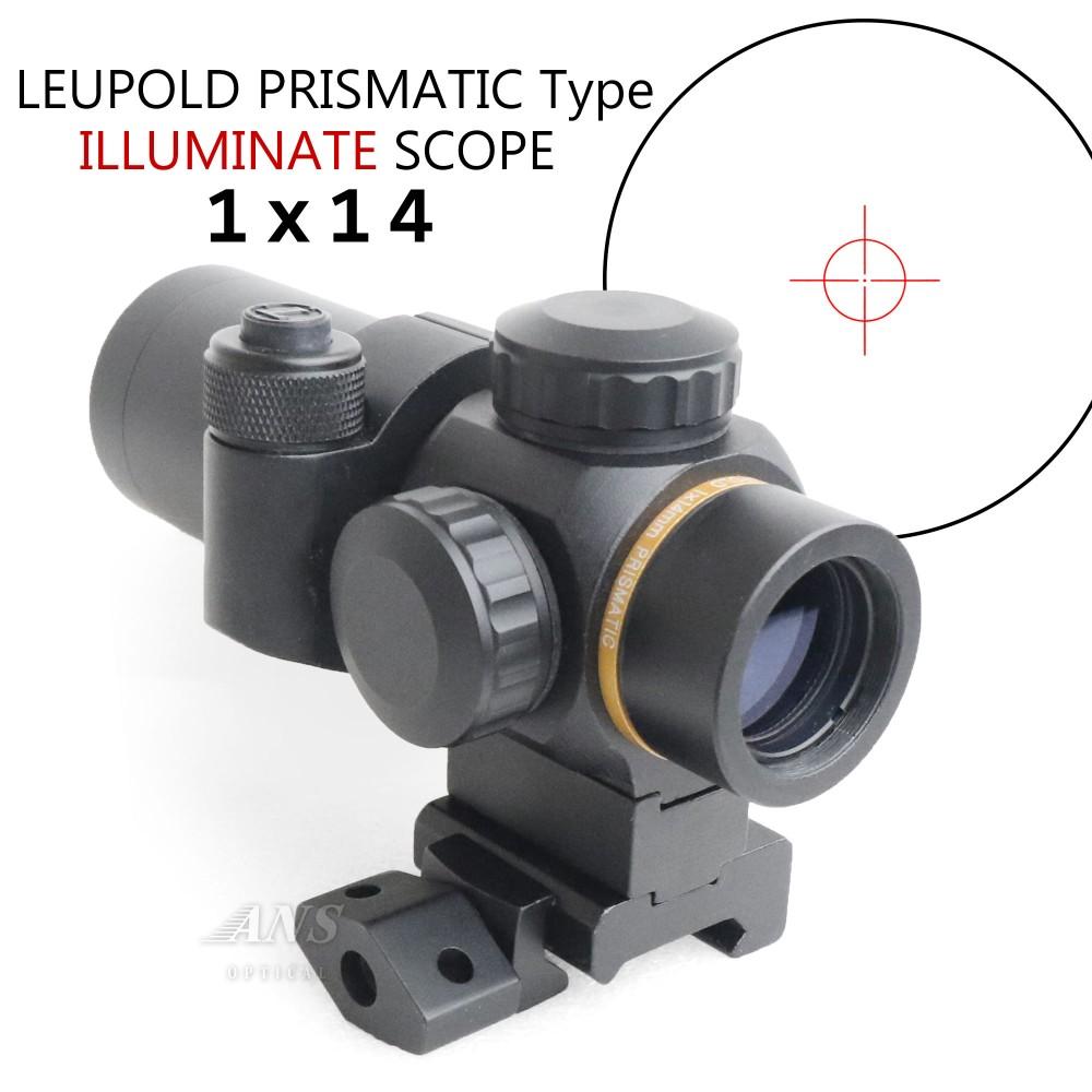 ANS optical LEUPOLD PRISMATIC タイプ 1X14 等倍率イルミネートスコープ 赤6段階